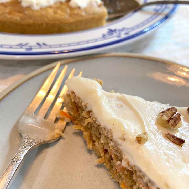 a slice of easy carrot cake on a plate