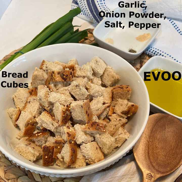measured ingredients for homemade croutons