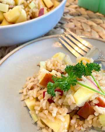 apple rice pilaf recipe on plate ready to serve