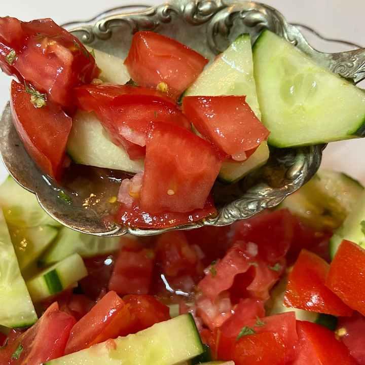 prepared tomato cucumber salad ready to serve