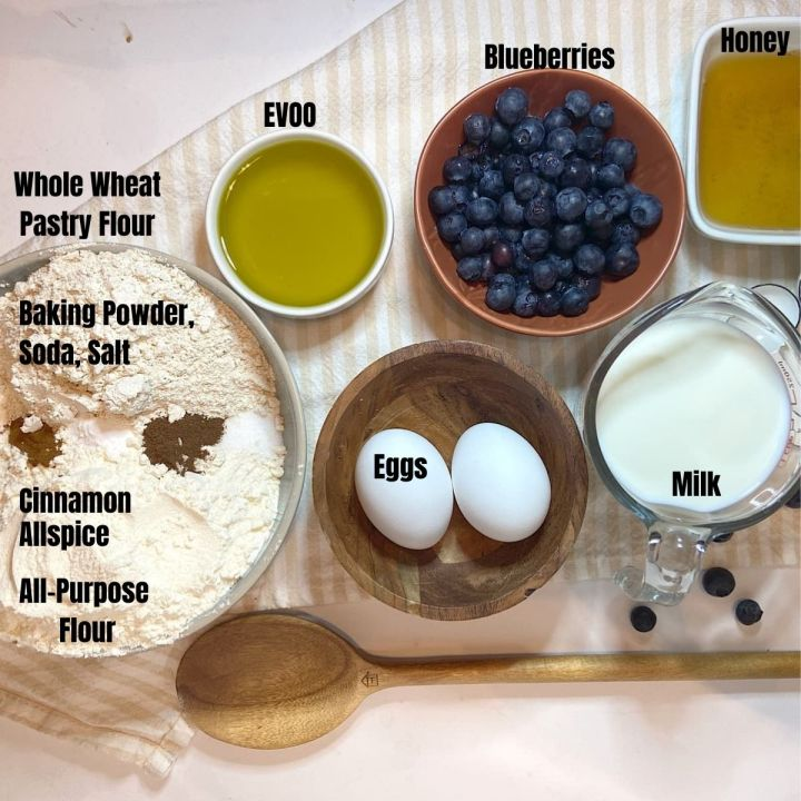 measured ingredients for blueberry muffins