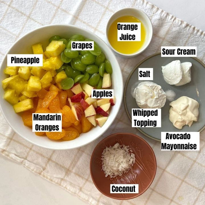 Measured ingredients for healthy ambrosia salad