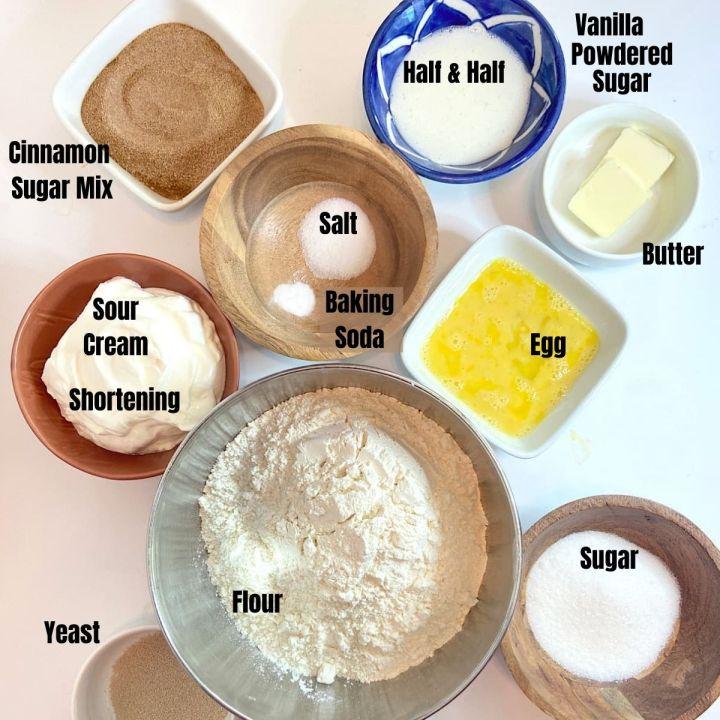 measured ingredients for cinnamon roll twists