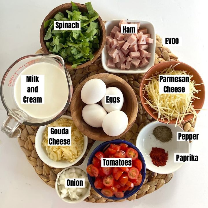 spread of measured ingredients for ham and cheese quiche