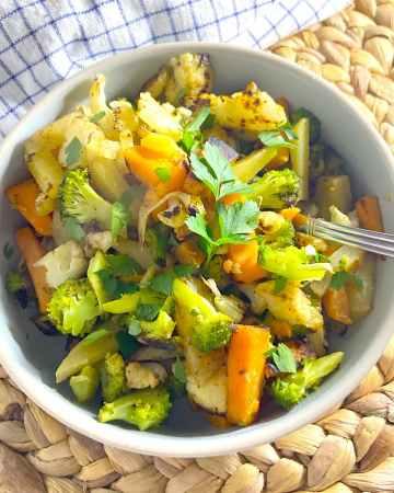broccoli cauliflower and potato saute in bowl