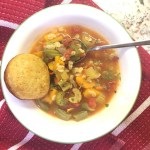 acorn squash and vegetable barley soup with muffin