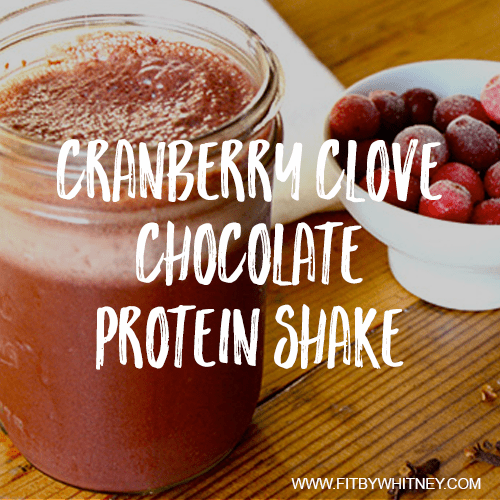 Cranberry clove chocolate protein shake recipe