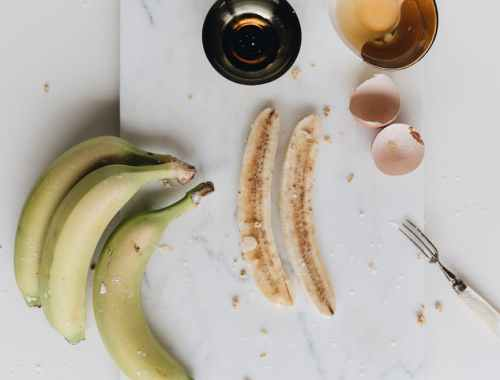 healthy breakfast with bananas and eggs
