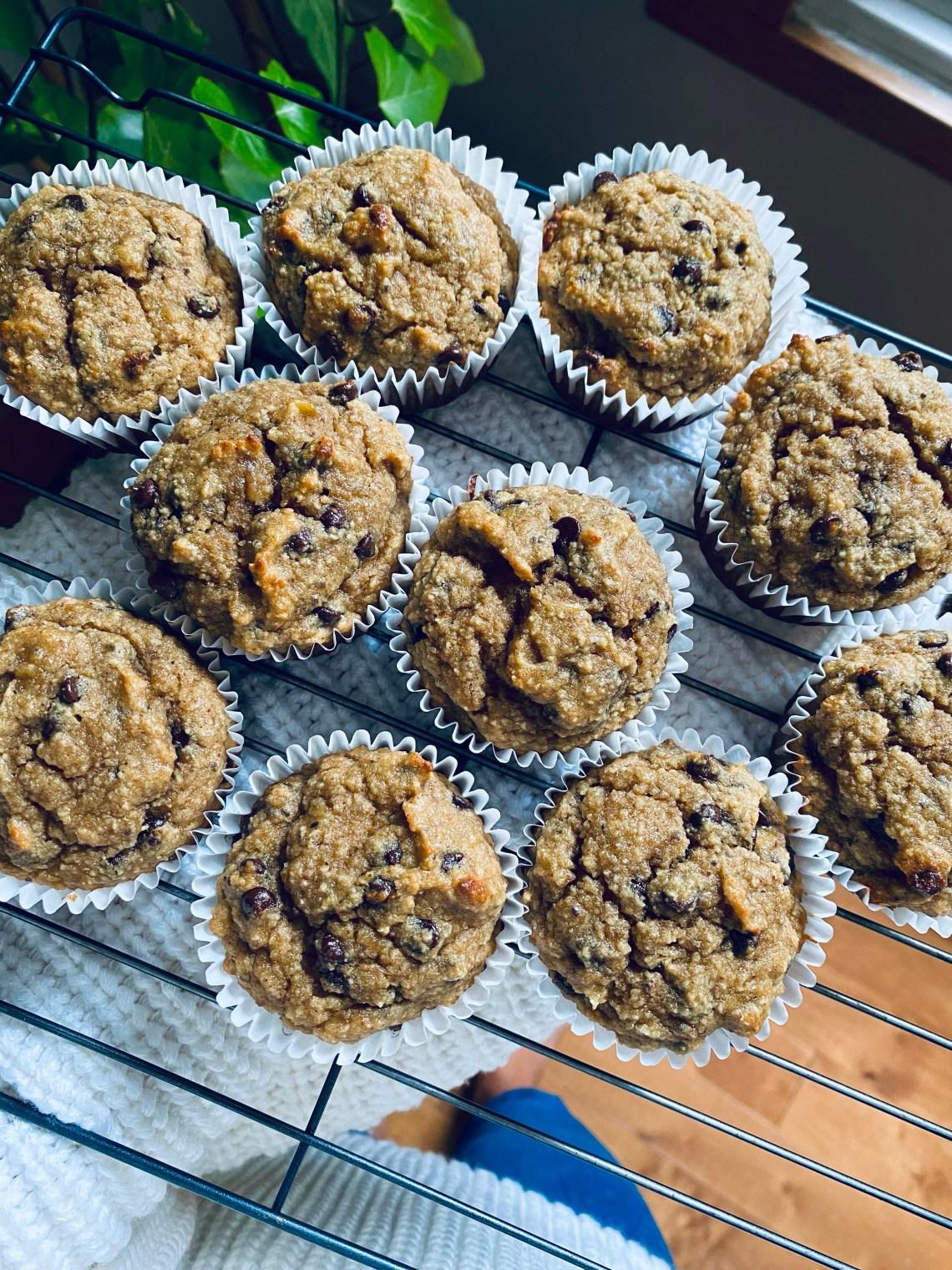 muffins aux bananes et pépites de chocolat