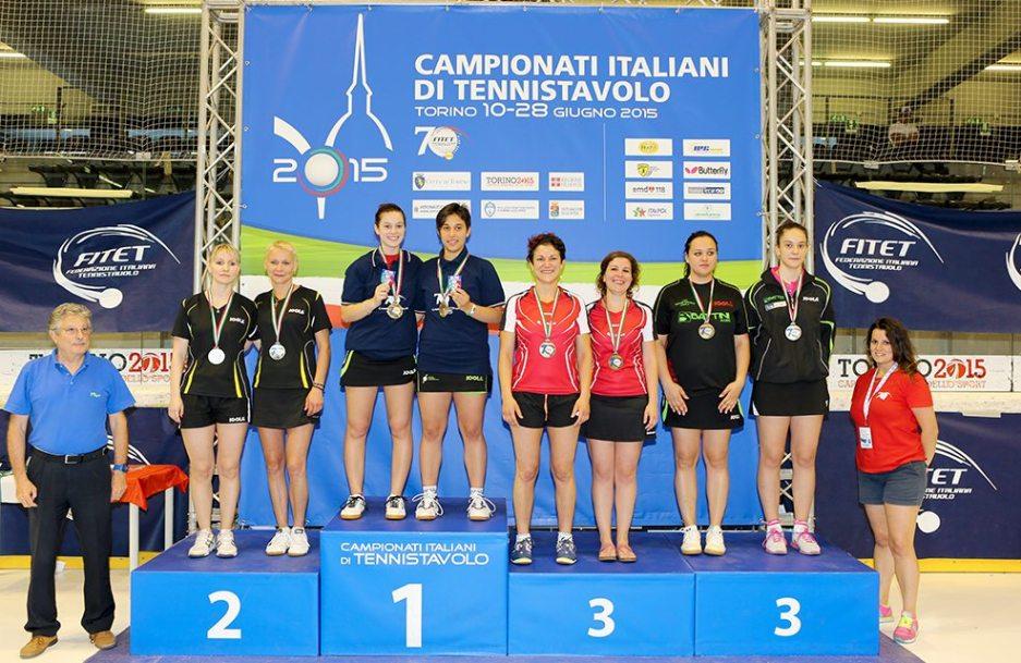 Il podio del doppio femminile seconda (Foto Fitet)