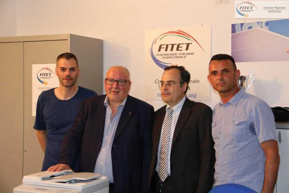 Carrucciu, Sciannimanico e i consiglieri regionali Giuseppe Rossi e Gianluca Mattana (Foto Gianluca Piu)