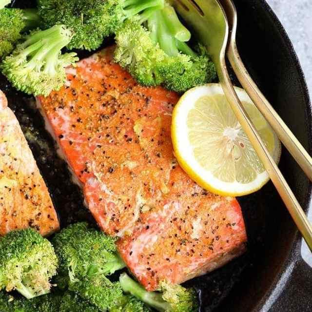 lemon pepper salmon in cast iron