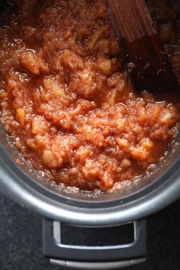 Cinnamon Crockpot Applesauce in a crockpot ready to eat