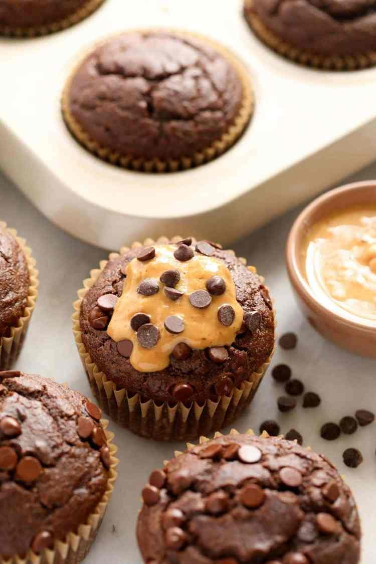 chocolate peanut butter muffins with chocolate chips