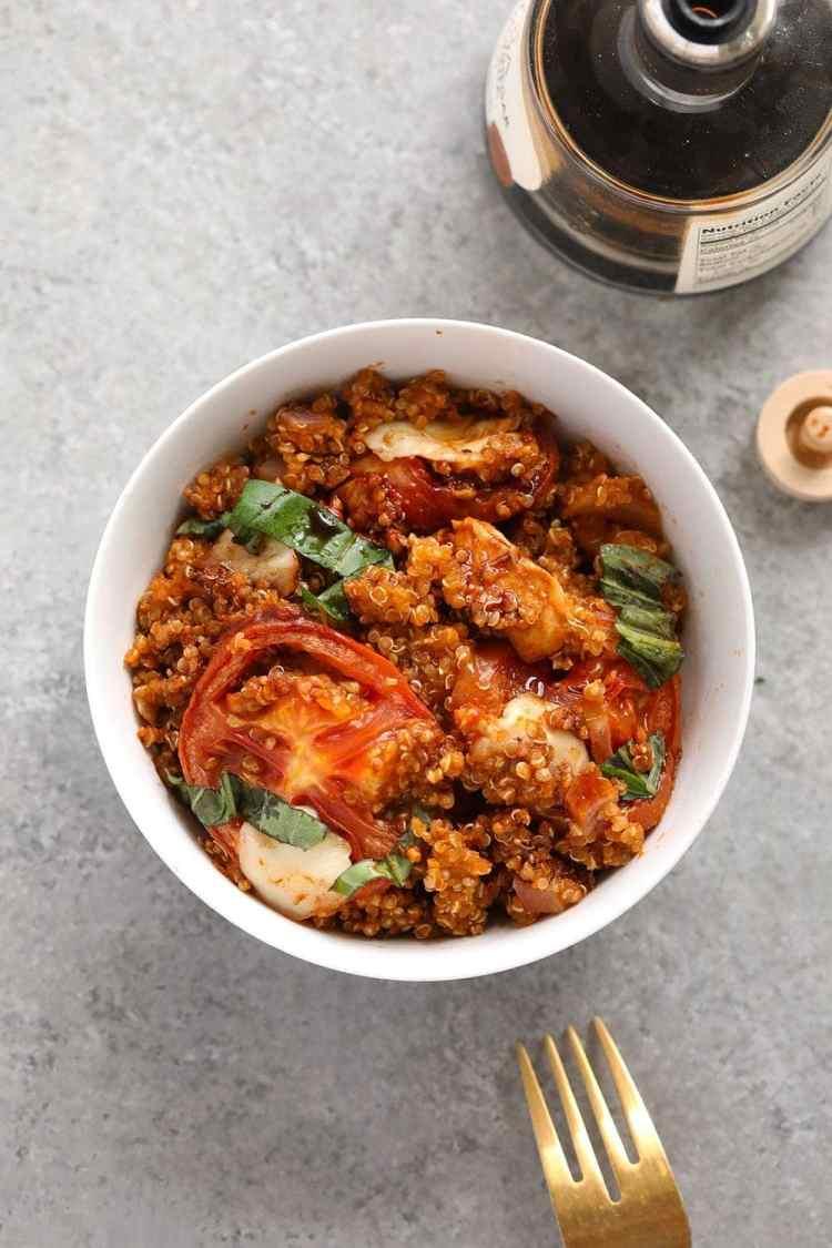 Tuscan chicken quinoa casserole in a bowl