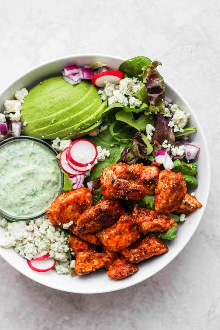 Sriracha chicken salad in a bowl