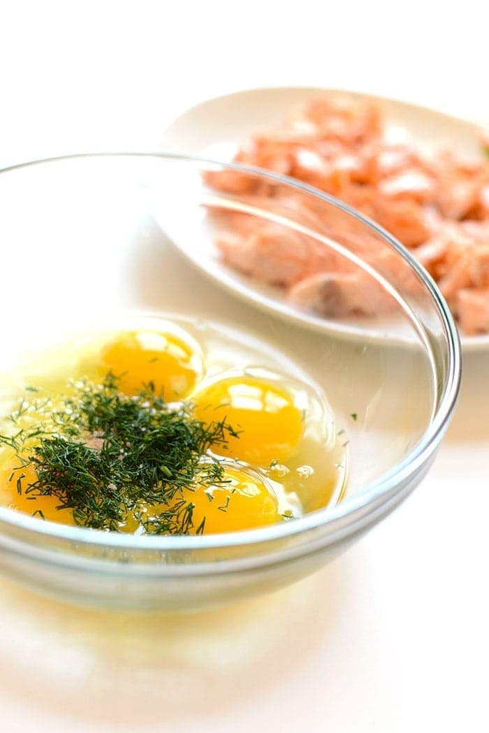 Eggs and dill in a bowl
