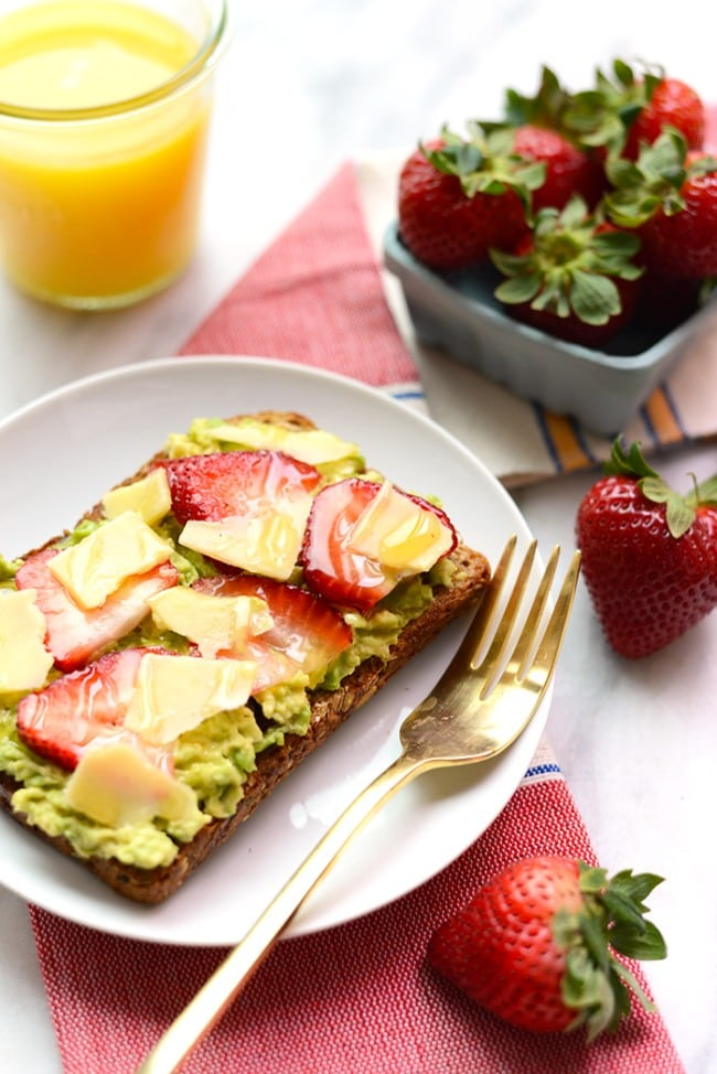 Strawberry, Avocado And White Cheddar Toast