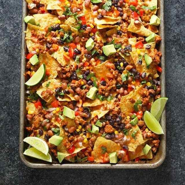healthy chicken nachos on pan