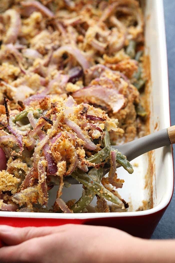 green bean casserole in dish