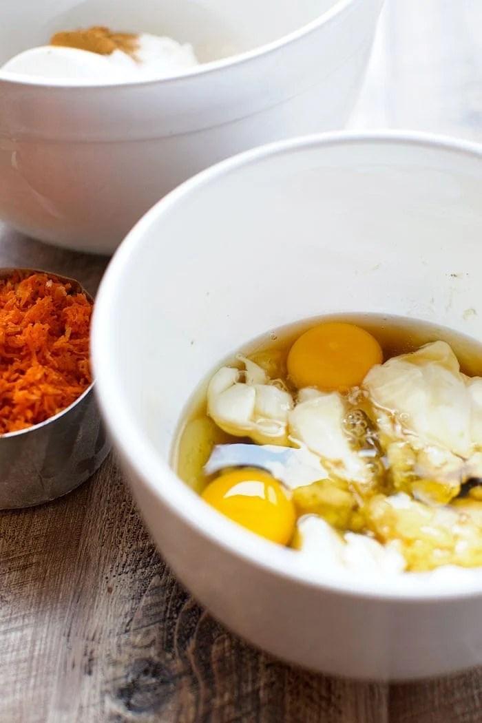 carrot cake wet ingredients in bowl