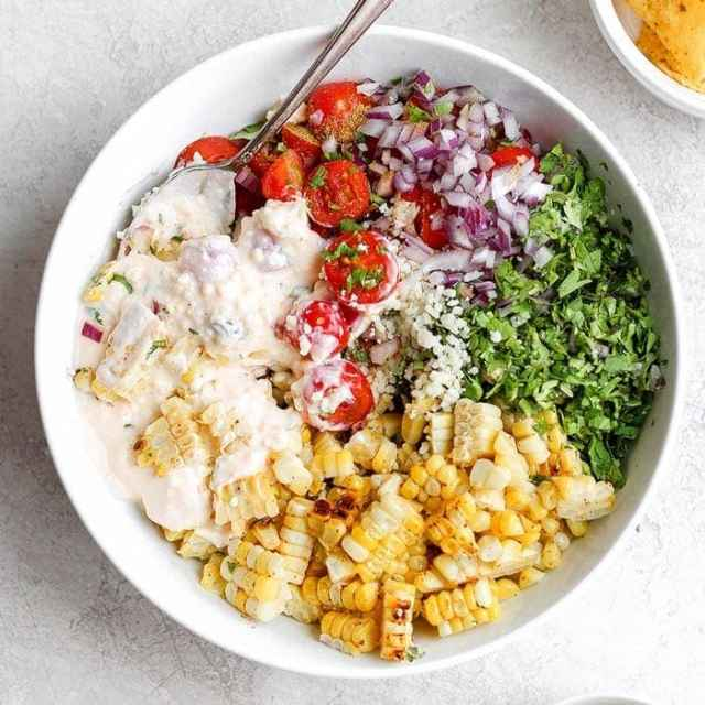 Street corn salad recipe in a bowl