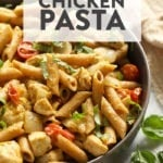Pesto chicken pasta ready to eat in a bowl