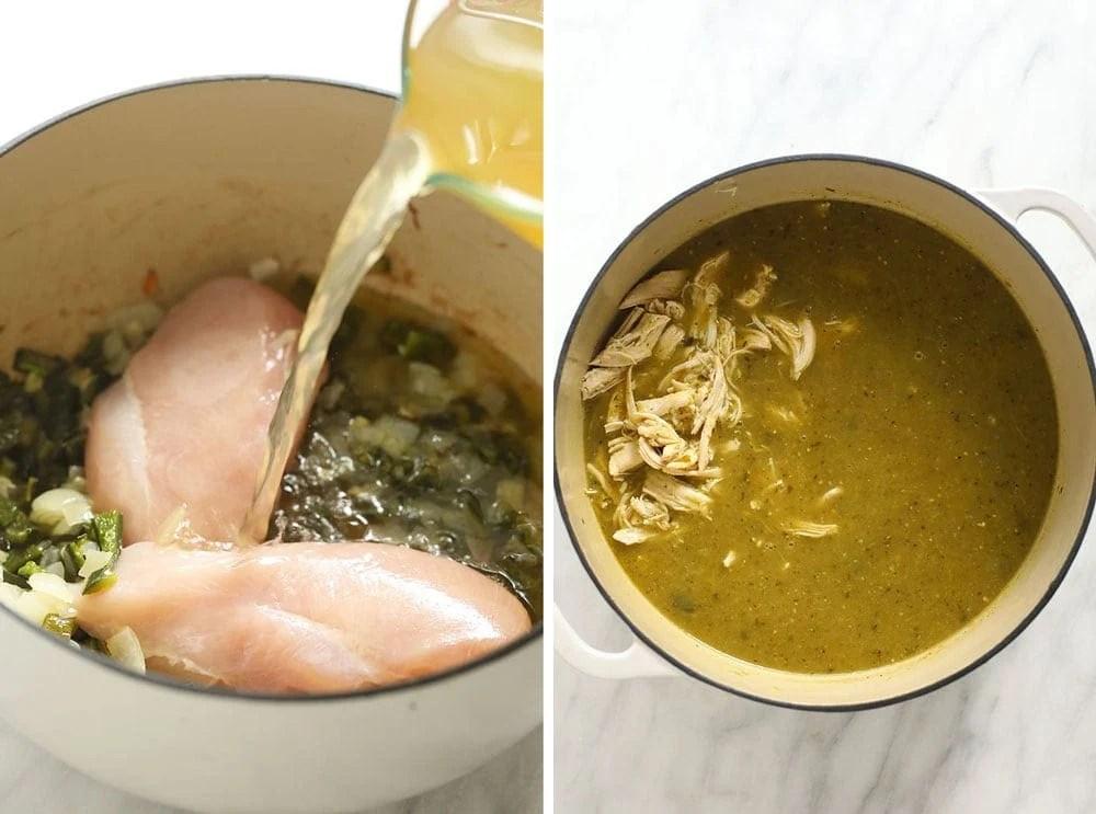 green chicken chili in stock pot