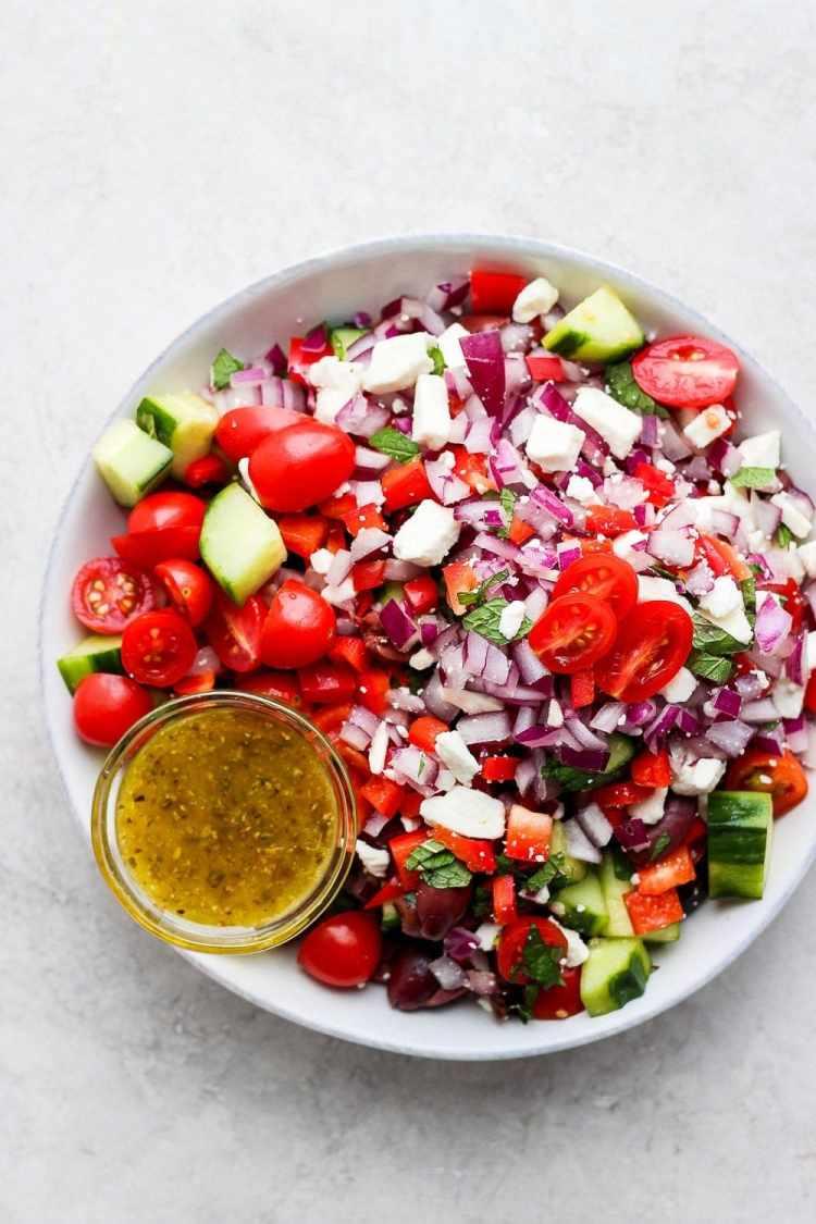 Greek salad in a large bowl