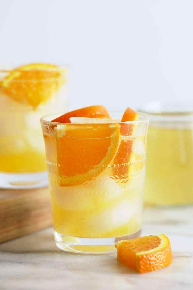 Orange Ginger Hard seltzer in a glass