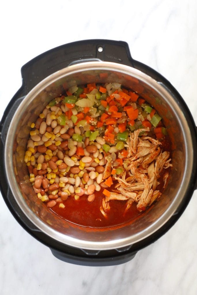 Chilli ingredients in an instant pot
