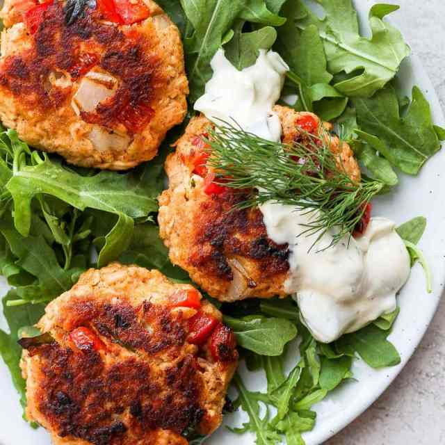 leftover salmon patties on a plate