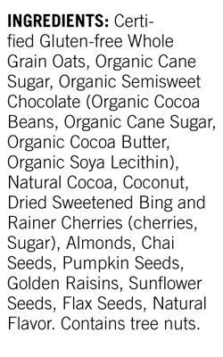 modern oats nutritional label