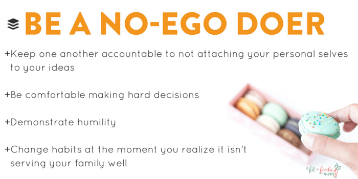 be a No Ego Doer buffer values for family