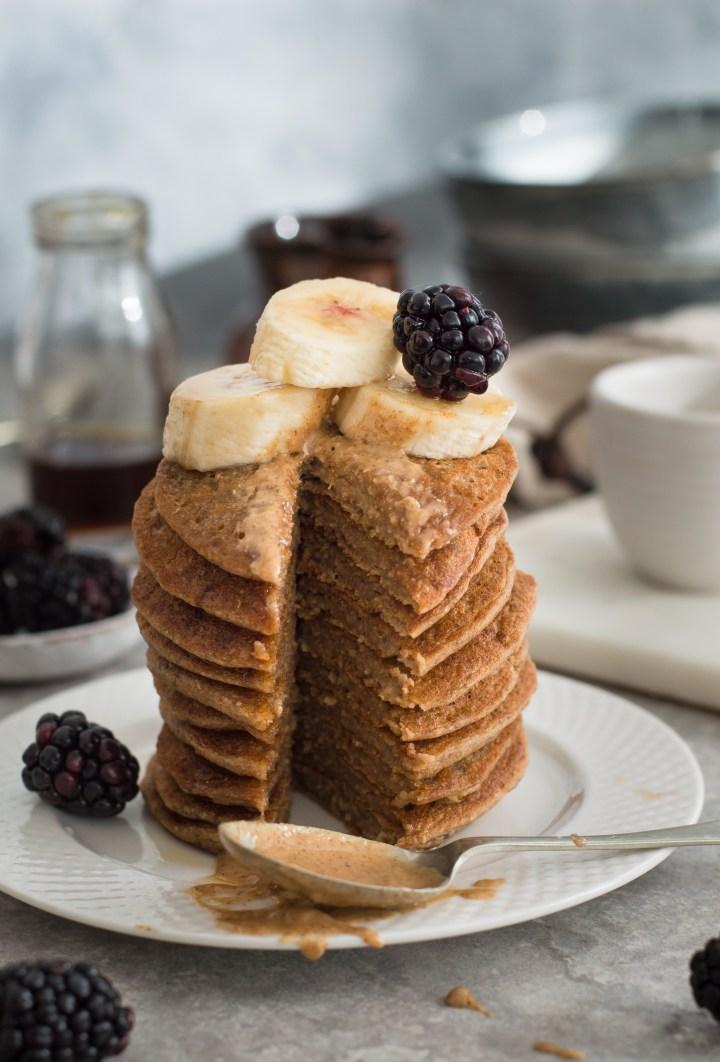 Vegan Peanut Butter & Banana Pancakes
