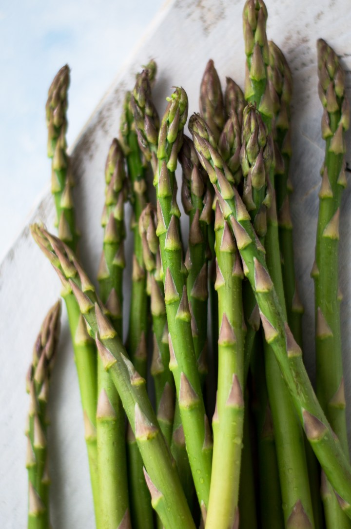 Asparagus on white board