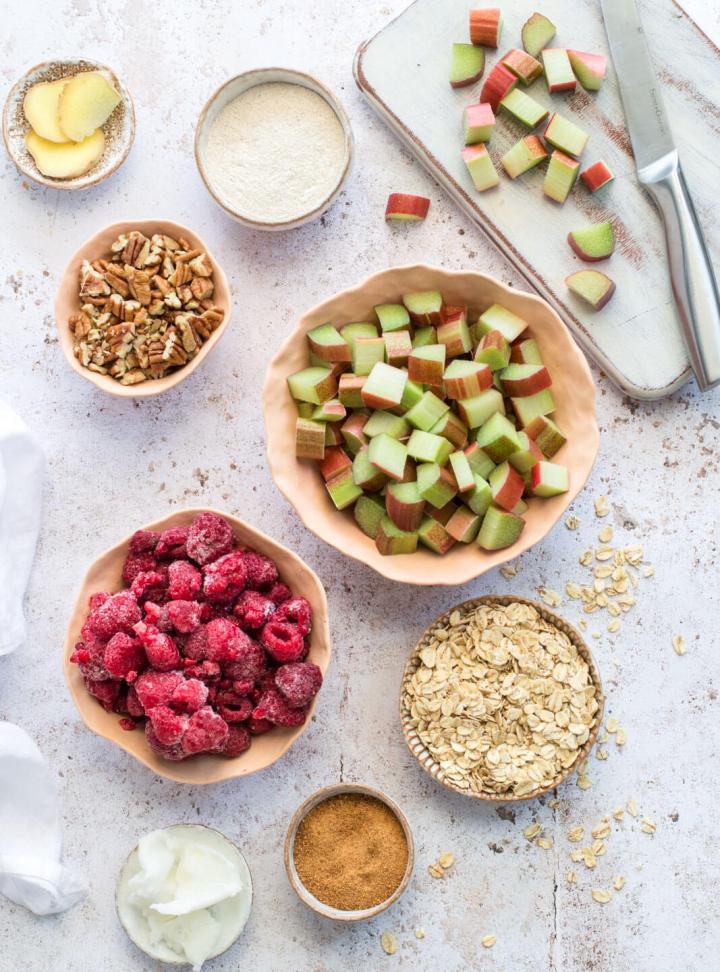 Ingredients shot for Raspberry & Rhubarb Crisp