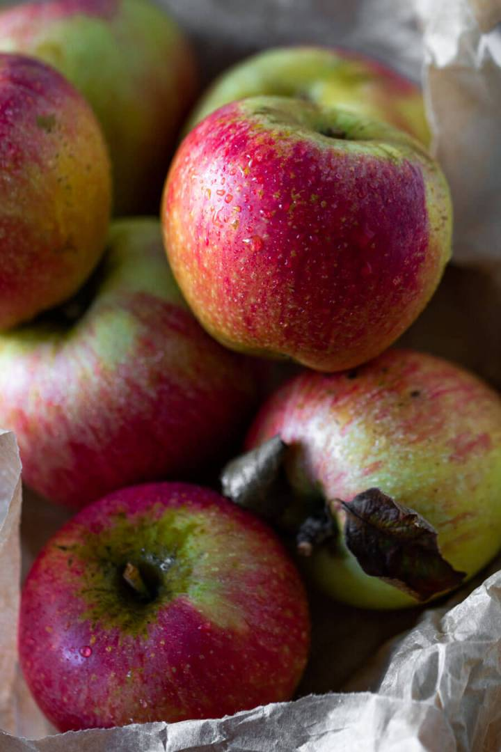 Close up view of red apples
