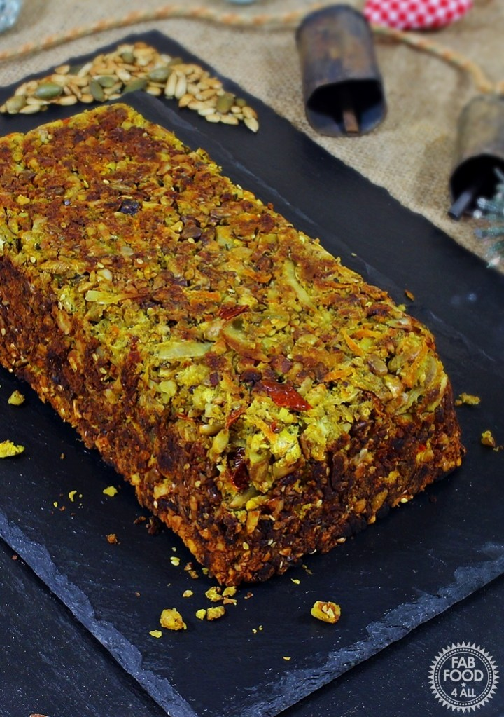 Close up of Vegan Nut Roast on a black slate
