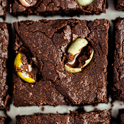 Top down close up view of vegan mini egg brownie