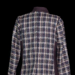 Plaid wool jacket with center back seam
