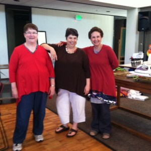 Katherine, Jane and Ronit modeling their test tunics with mixed fabrics.