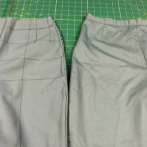 Mock up and test pant side by side in the same grey twill.