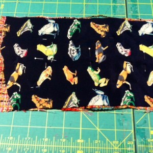 Lining and boucle  side panel, ready to quilt.  Pins with contrasting color glass heads are also useful when working with boucle.