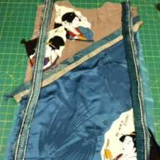 The stitched and flipped back with edging pinned into place.