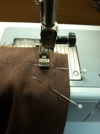 Begin stitching at the top.