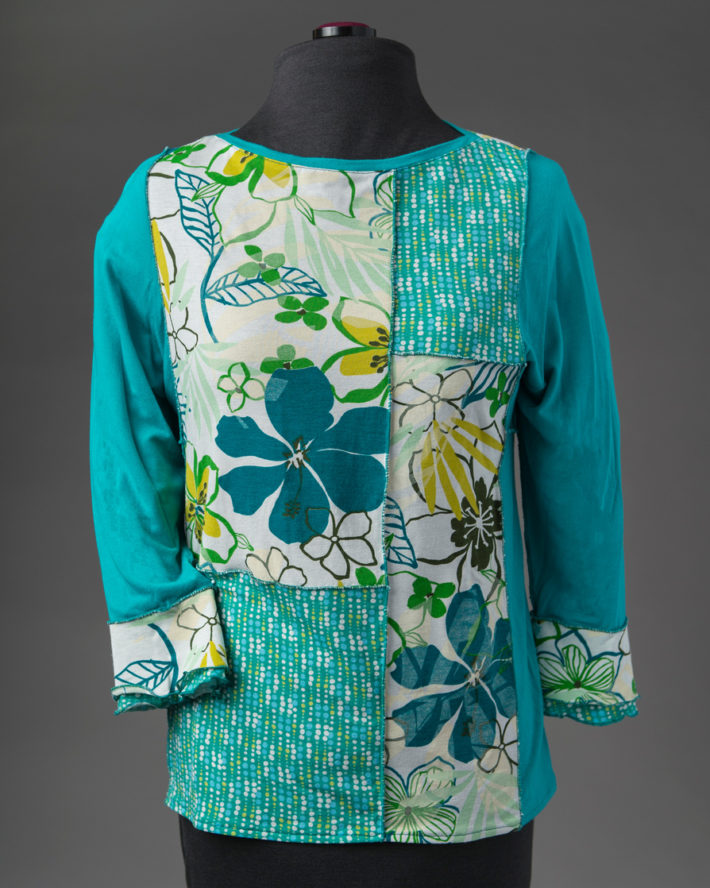 Turquoise Patchwork Knit Top