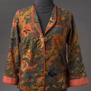 Tropical Birds & Flowers Batik jacket, front view