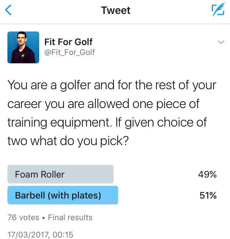Foam roller vs barbell poll
