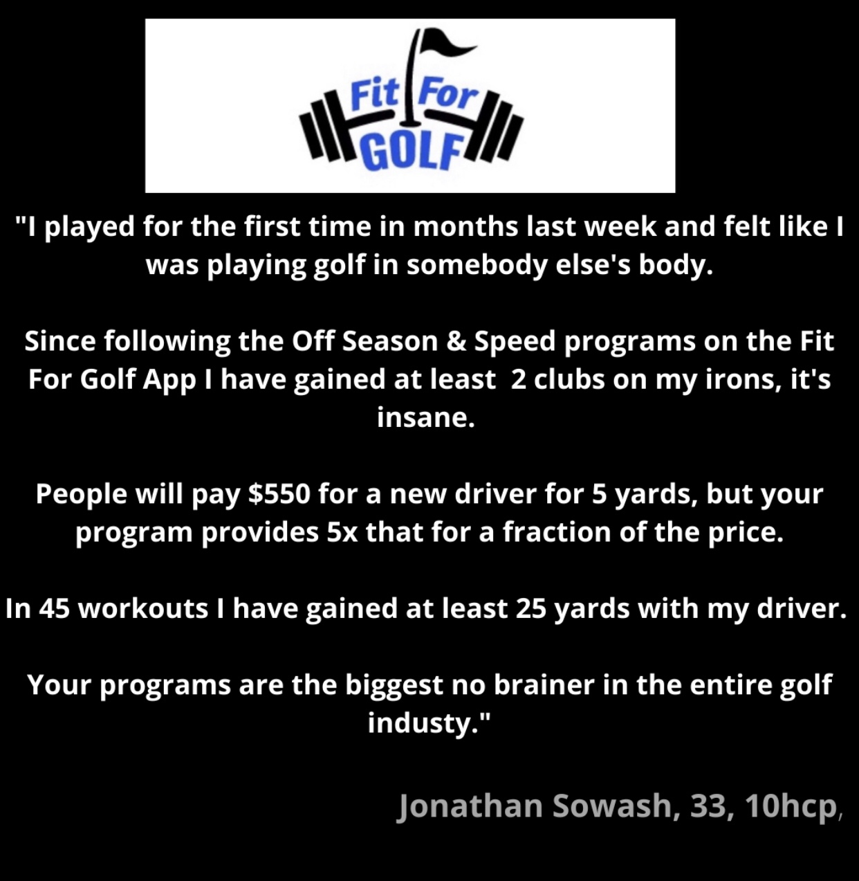 Fit For Golf User Gains 25 Yards With Driver